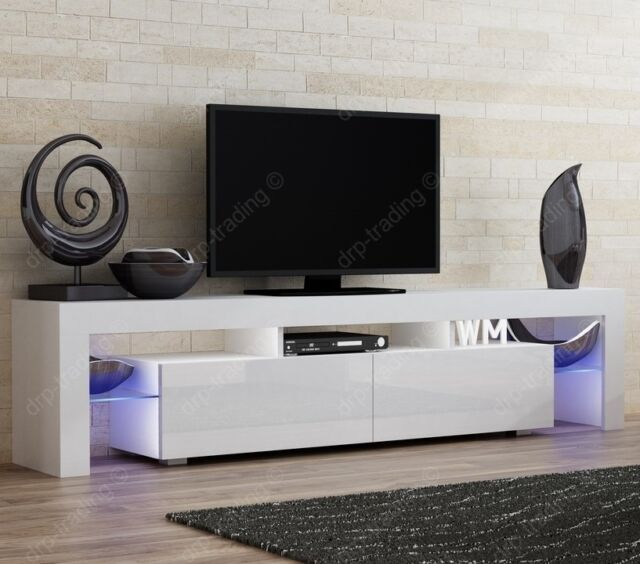 Modern Tv Unit 200cm Cabinet White Matt And White High Gloss Led Rgb