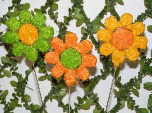 3 x trendy Sisal Blumen Stecker im Farbmix 7x27 cm DEKO//verarbeiten x 4957
