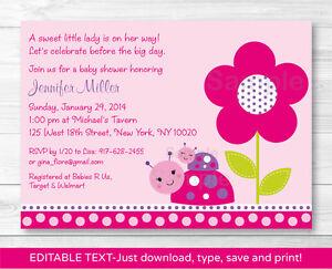 Ladybug Pink Purple Flower Garden Printable Baby Shower Invitation