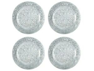 4 Galvanized Metal Table Top Charger Plates Serving Trays Farmhouse