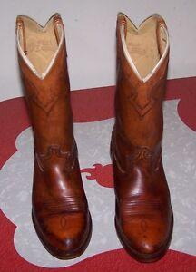 d2714d617ef Details about VINTAGE DINGO DISTRESSED MEN'S COWBOY BOOTS 70s 80s BROWN  SIZE 8D - MADE IN USA