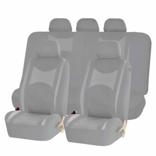 ALL GRAY HONEYCOMB MESH SPLIT BENCH SEAT COVERS SET FOR SUVS 1248