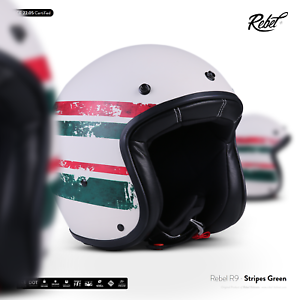 REBEL-R9-Stripes-Green-JET-CASCO-DA-MOTOCICLISTA-SCOOTER-VESPA-MOTORETTA-ECE