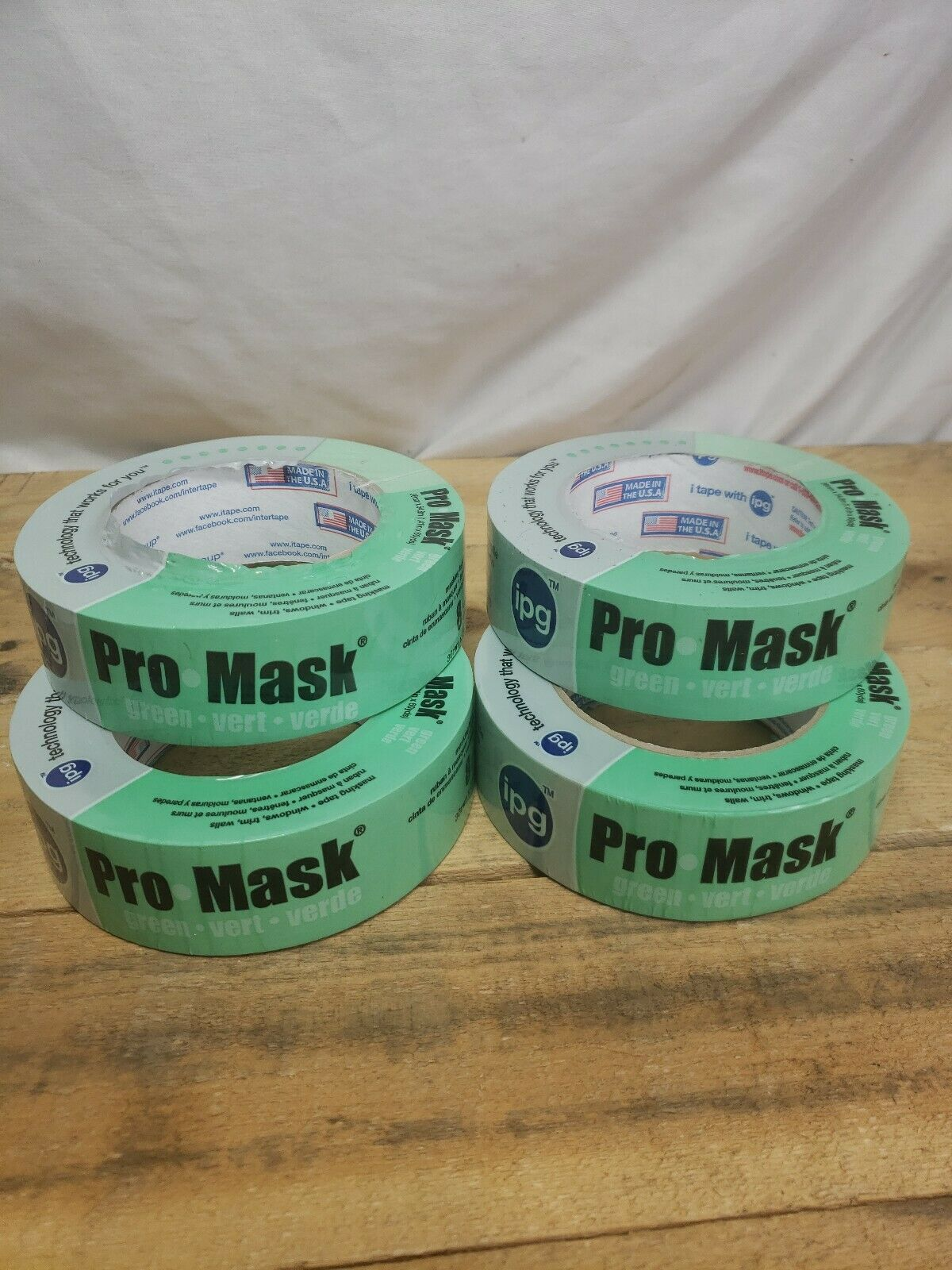 8-Day Painters Tape Single Roll 1.41 x 60 yd IPG ProMask Green Green,
