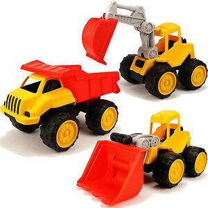 XL-LKW-fuer-Sandkasten-rot-gelb-30cm-gross-Baufahrzeug-Truck-Outdoor-Spielzeug-NEU