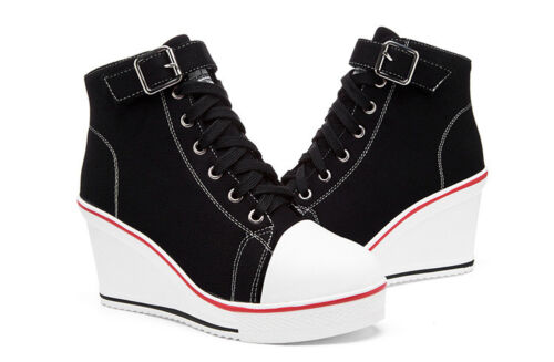 2019 Women Shoes Canvas High Top Wedge Heel Lace Up Fashion Sneakers US 6-9