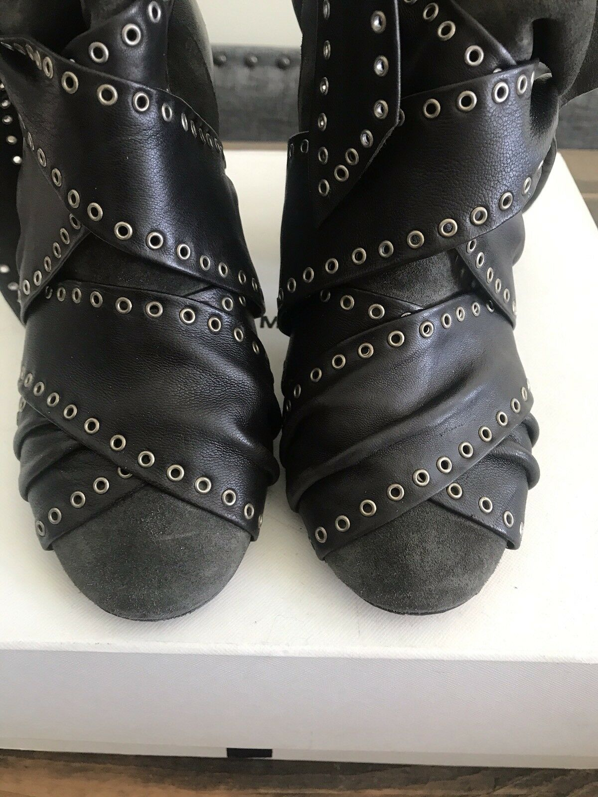 Isabel marant Wrap Leather Suede Suede Suede Olive Grün Ankle Stiefel Stiefelies Größe 7 1f78b0