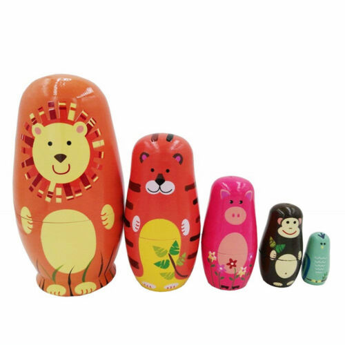 5Pc Russian Wooden Nesting Doll Handmade Matryoshka Babushka Cute Animal Paint L