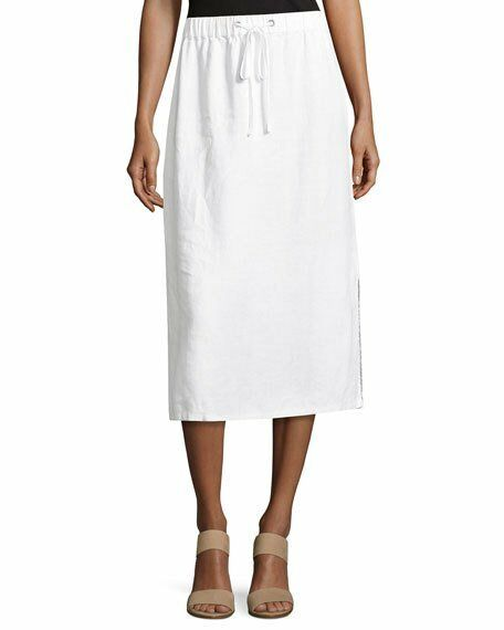 NEW Eileen Fisher Heavy Organic White Linen Midi Skirt Size Medium