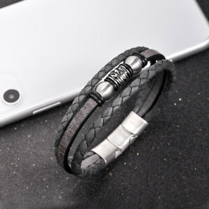Dark Grey Leather Bracelet for Mens
