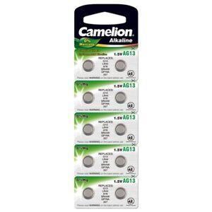 10x-Knopfzelle-AG13-LR44-157-357-V13GA-Alkaline-Uhrenbatterie-von-Camelion