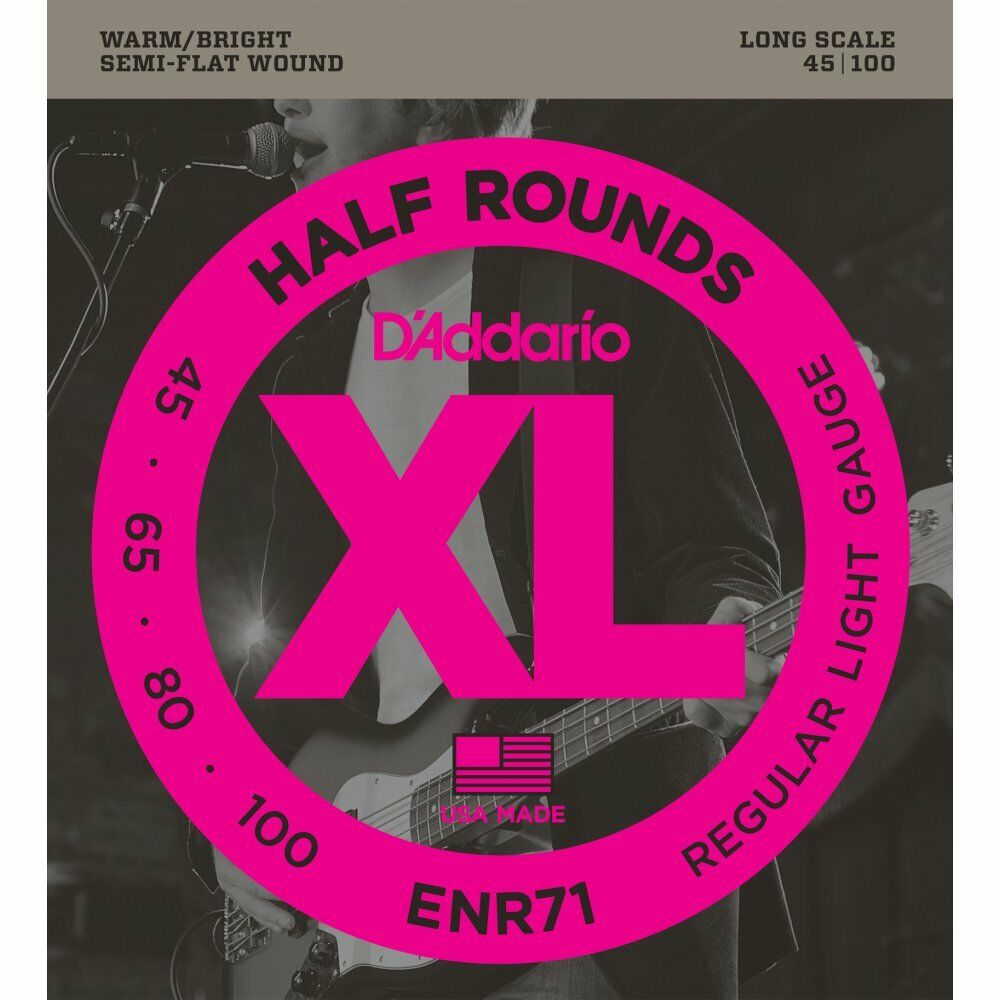 D'Addario ENR71 Half Wound (Semi Flatwound) Bass Guitar Strings - 45-100 - NEW