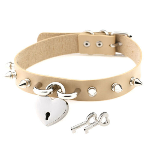 Choker Collar Necklace Leather Spikes Heart Metal Lock Key Studs Gothic Punk UK