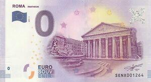 A 2017-1 Billet 0 Euro Souvenir - Se Nx - Italie Roma Pantheon Larges VariéTéS