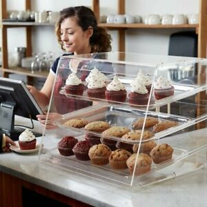 3-Tray-Bakery-Counter-Display-Case-Rear-Door-Donut-Pastry-Cookie-Hotel-Store-NEW