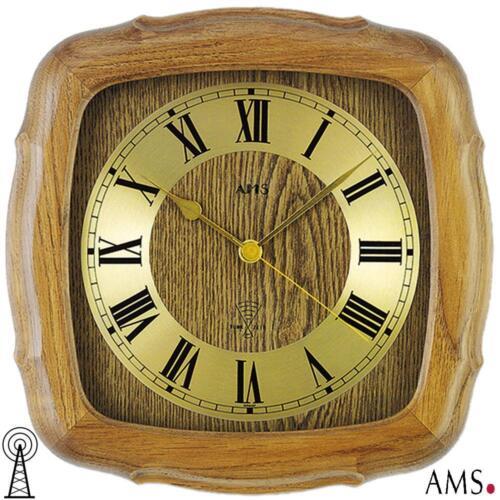 AMS 38 Wanduhr Funk Eiche massiv rustikal Küchenuhr Funkuhr Bürouhr 987
