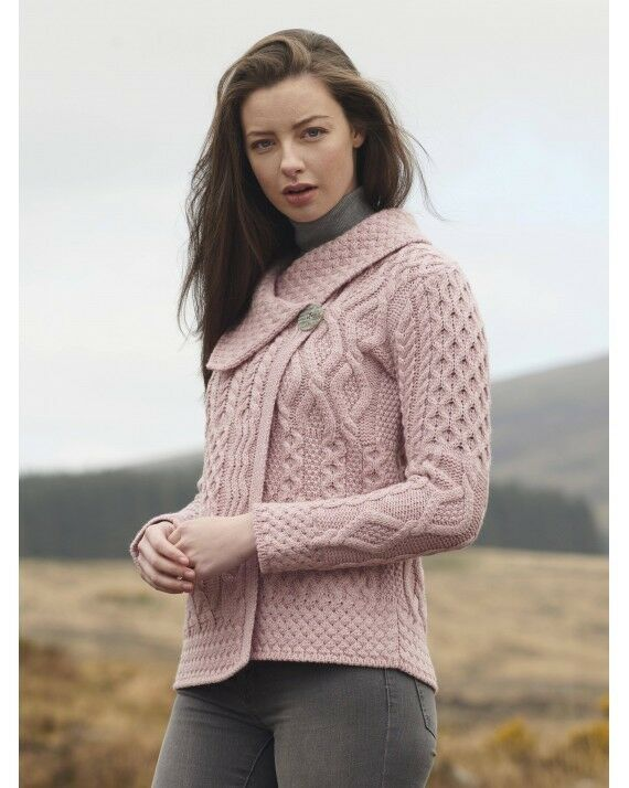 Aran Cable Knit Sweater Merino Wool S M L XL PATCHWORK 1 Button Card SuperSoft