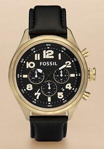Fossil Watch * DE5000 Vintaged Bronze Black Leather Classic for Men