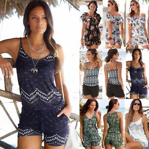 Women-Holiday-Strap-Mini-Playsuit-Romper-Summer-Shorts-Jumpsuit-Beach-Dress-S-XL