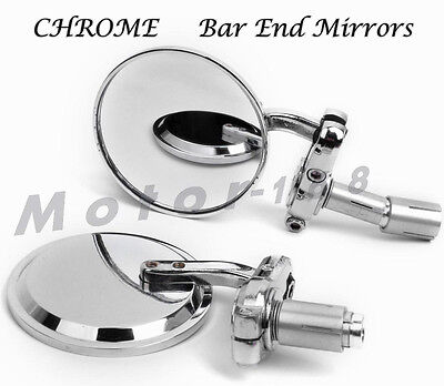 """3""""CHROME 7/8""""HANDLE BAR END MIRRORS For MOTORCYCLE CAFE RACER BOBBER CLUBMAN"""