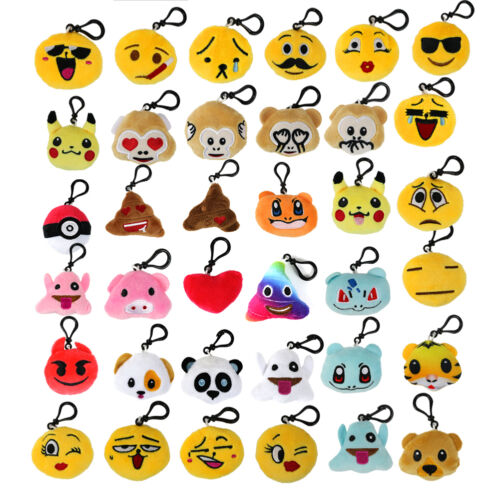 "36pcs 2/"" Emoji Smiley Stuffed Plush Toy KEY CHAIN Emoticon Yellow Soft Cushion"