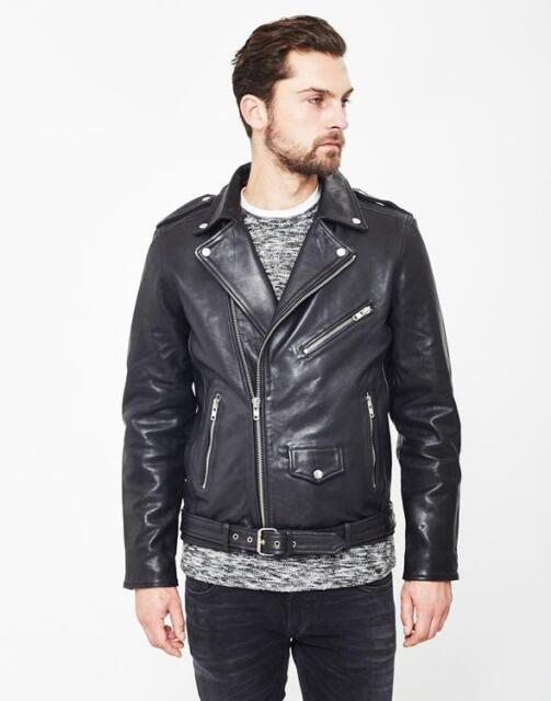 SELECTED HOMME NICO LEATHER BIKER JACKET BLACK SMALL ZIPS RRP £300 SALE BNWT 56d94c2490b