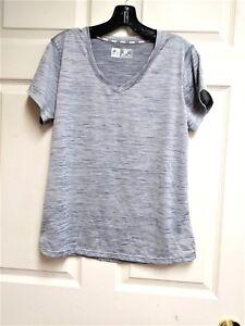 RBX-Performance-X-Dri-Blue-White-Striped-Athletic-Fitness-S-S-Shirt-Size-L