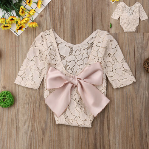 Baby Photography Props Backless Hollow Bowknot Lace Romper Newborn Girls 1PCS