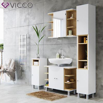 VICCO Badmöbel Set AQUIS Weiß Bad Spiegel Waschtischunterschrank Badschrank