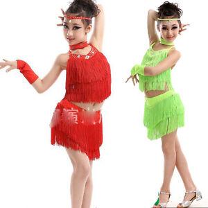 897e20eb5a4c Children's Tassels Latin Dancewear Costumes Kid Ballroom Salsa Rumba ...