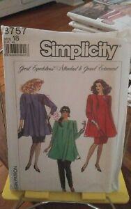Vtg-Simplicity-8757-misses-maternity-flared-top-pull-on-skirt-pants-sz-18-NEW
