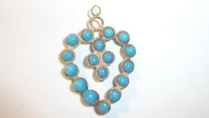 Antique-Vintage-Turquoise-Blue-Glass-amp-Brass-Heart-Charm-Pendant