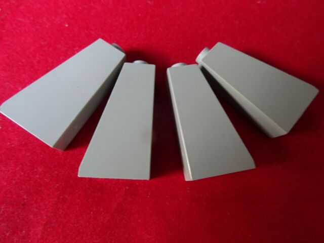 LEGO  4460 LIGHT BLUISH GREY SLOPES 75. 2 x 1 x 3  WITH STUD AT TOP x 4
