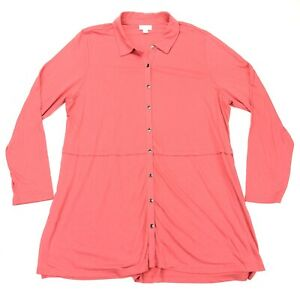 J-Jill-Women-039-s-Shirt-Dress-Button-Front-Stretch-Pink-Size-1X