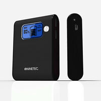 NINETEC 10000mAh Power Bank Mobiler Akku für Smartphone Tablet Ebook MP3 schwarz