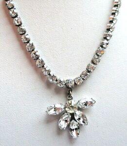 Détails sur Ancien collier couleur argent cristaux diamant swarovski rare  bijou vintage 735