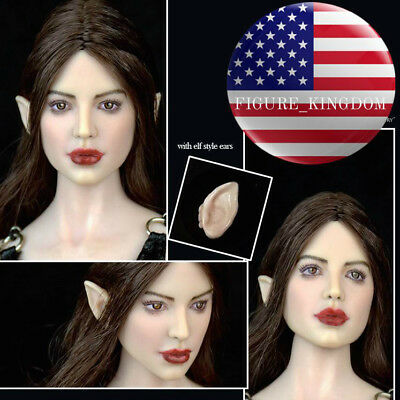 """1//6 Fairy elf Female Head Sculpt Avec Amovible oreilles pour PHICEN 12/"""" figure pâle"""