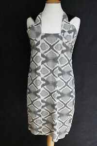 Roland-Mouret-grey-jacquard-print-shift-dress-UK-12