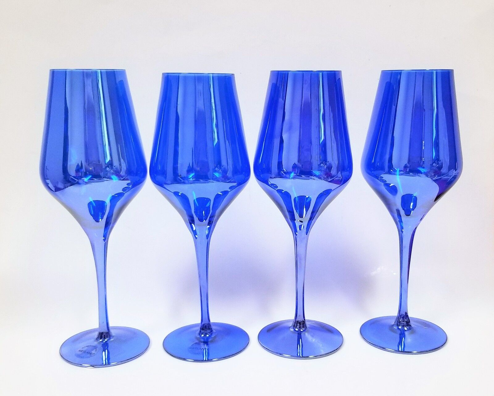 SET OF 4 ARTLAND REFLECTIV COBALT,ROYAL bleu WINE,LUSTER GOBLET+STEM GLASS 16 OZ