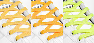 FLAT-YELLOW-SHOE-LACES-LONG-SHOELACES-8mm-wide-11-LENGTHS-3-SHADES