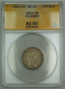 1911-Liberty-V-Nickel-Coin-5c-ANACS-AU-50-Details-Cleaned