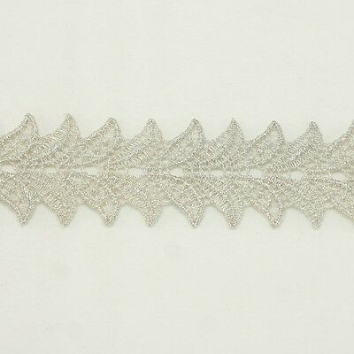 Unique Metallic Embroidered Venise Lace Trim #292 - Bridal Wedding Lace Trim