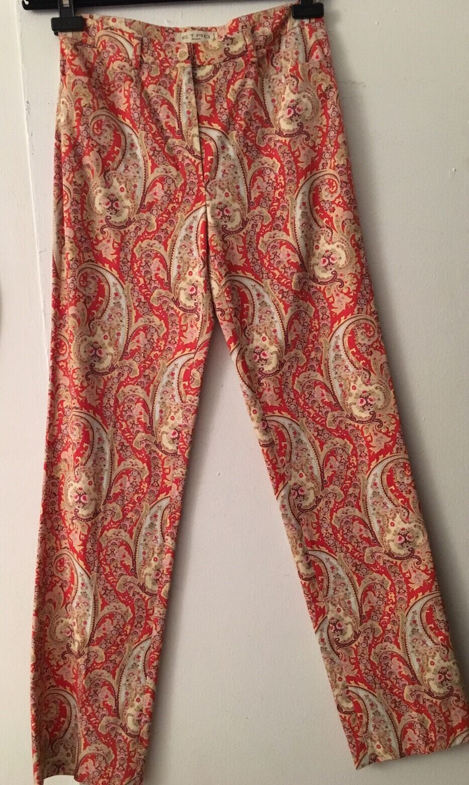 Auth ETRO rot 98% Cotton Stretch rot MultiFarbe Parsley  Pants Sz IT 38 US 4