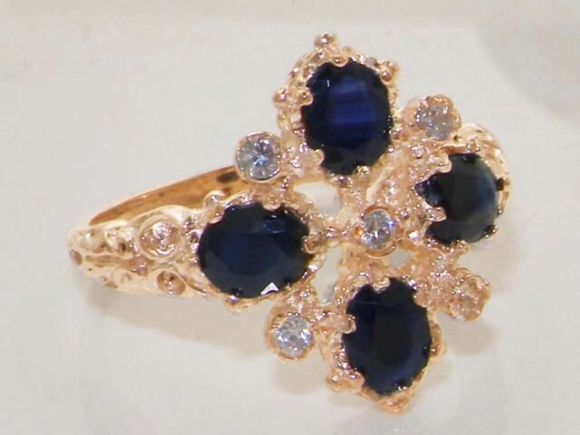 Solid 9ct Rose Gold Natural Sapphire & Diamond Vintage Ring