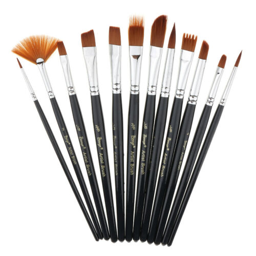 12pcs Artist Paint Brushes Nylon Hair Watercolor Acrylic Painting Supplies