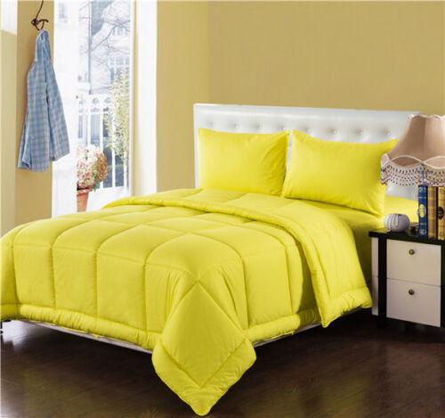 Tache 3-4 Piece 100/% Cotton Solid Bright Neon Yellow Box Stitched Comforter Set