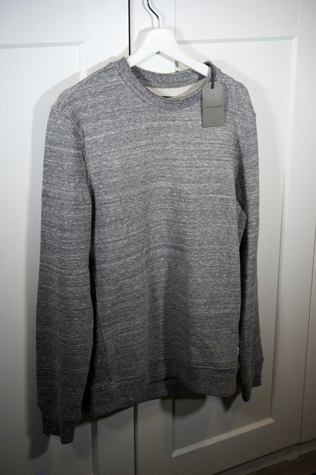 Brand New All Saints Mind Crew Grey Mouline Sweatshirt Size S RRP 70£