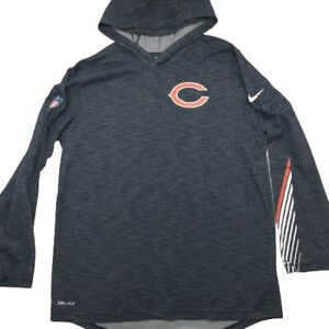 Nike Chicago Bears Men's Medium Blue Lightweight Hoodie Shirt Dri Fit