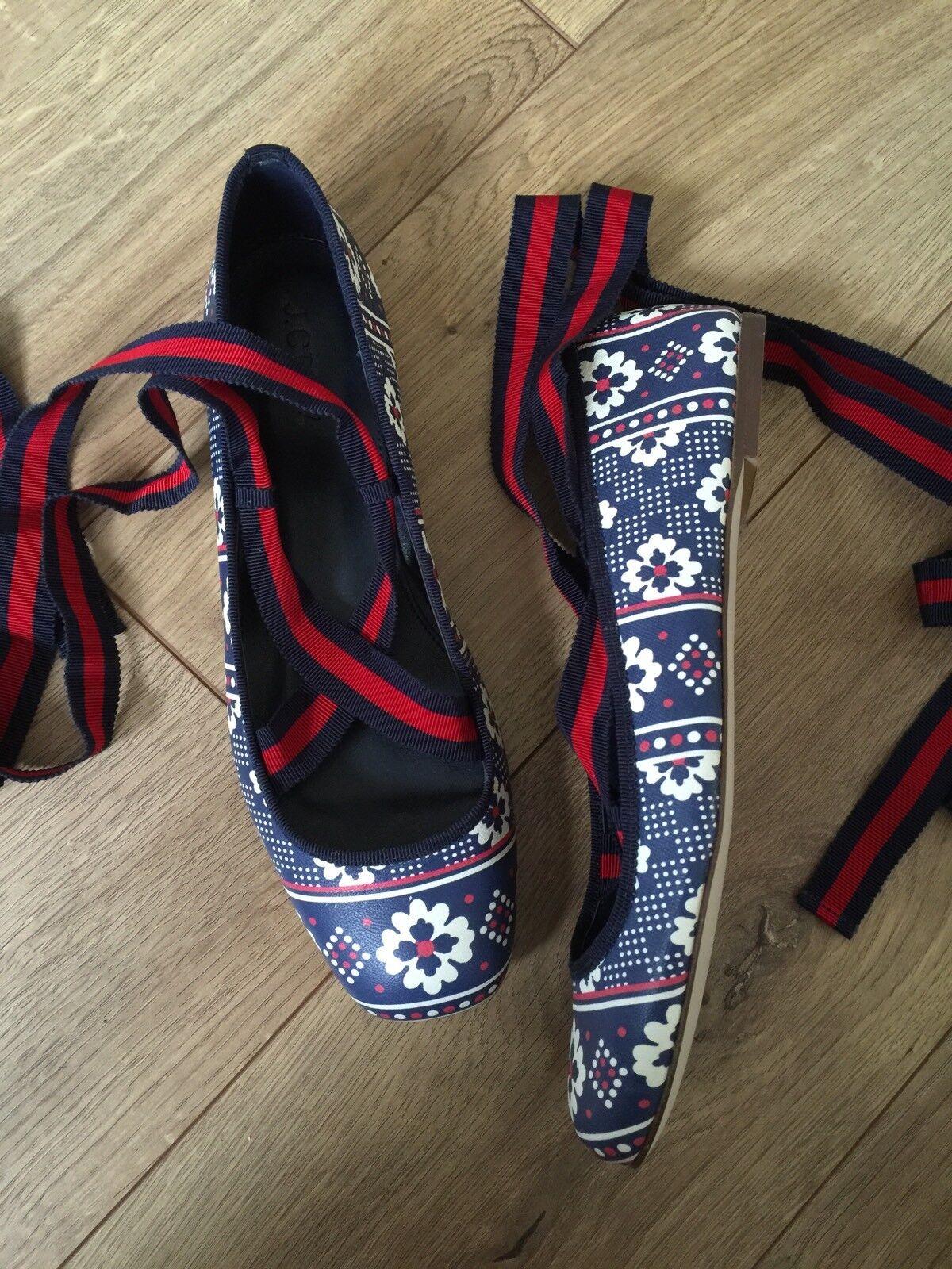 presa di marca JCrew  168 168 168 Lily Lace-Up Ballet Flats Sz 8 Vintage Indigo blu G7854 scarpe  economico