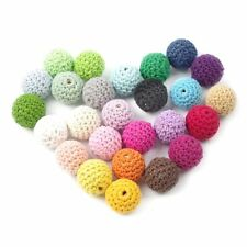 50pc Wooden Crochet Covered Beads Colour Mix Ball 16mm For Baby Teething Diy